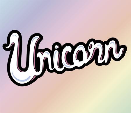 Unicorn word isolated on background