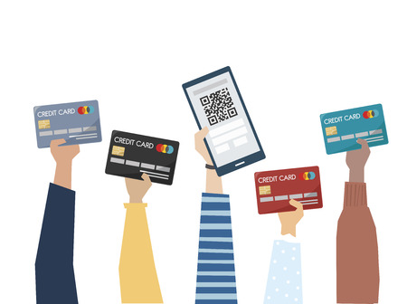 Illustration of online payment with credit card Foto de archivo - 109643595