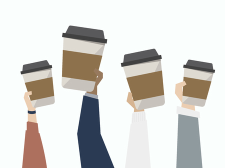 Illustration of coffee on the go Banco de Imagens