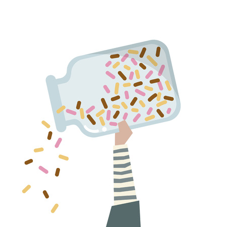 Illustration of a  hand holding a bottle of rainbow sprinkle