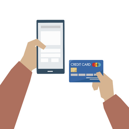 Illustration of online payment with credit card Imagens - 109643623