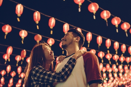 Asian couple at Chinese fastival Stock Photo
