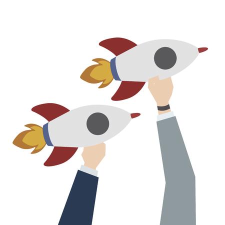 Illustration of launching business rockets Stok Fotoğraf