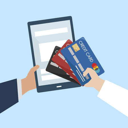 Illustration of online payment with credit card Foto de archivo - 109643680