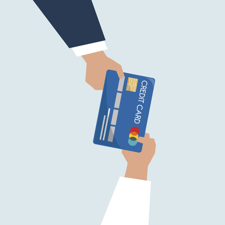 Illustration of hands holding credit card Stock Photo
