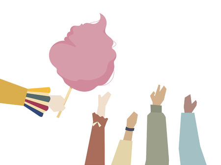 Illustration of hands with cotton candy