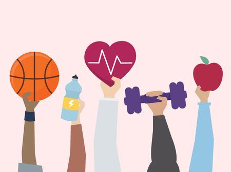 운동과 건강한 라이프 스타일 개념의 삽화 스톡 콘텐츠