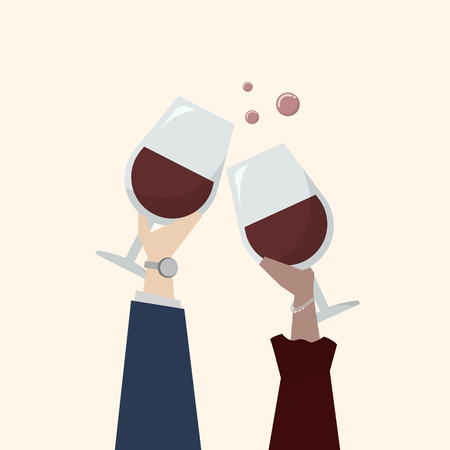Illustration of people drinking wine Banco de Imagens - 109643862