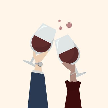 Illustration of people drinking wine 写真素材 - 109643862