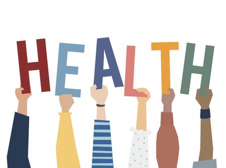Illustration von Händen, die Gesundheitswort halten