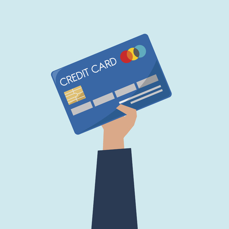 Illustration of hand holding credit card Foto de archivo - 109643927