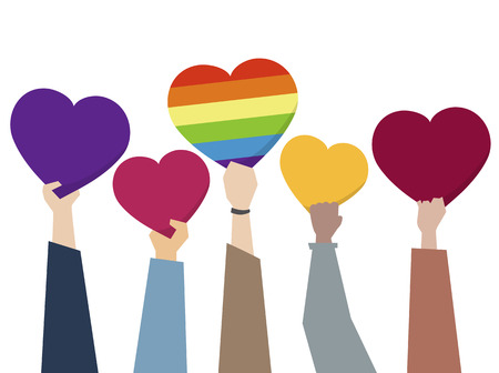 Illustration of diverse people holding hearts 스톡 콘텐츠