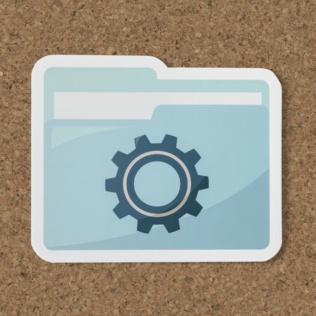 Paper cut out settings folder icon Stok Fotoğraf