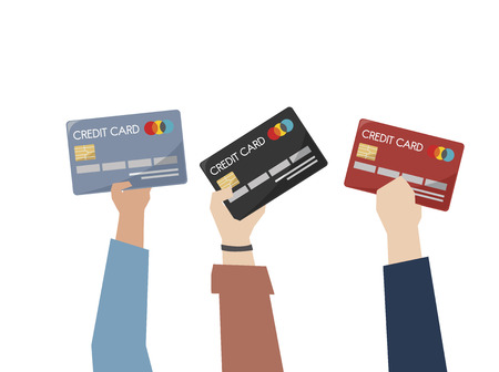 Illustration of hands holding credit cards Stock Photo