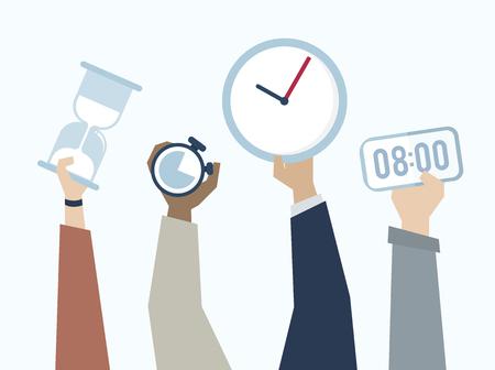 Illustration des mains avec gestion du temps