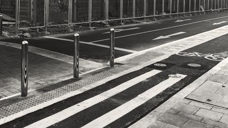 Monochrome view of an empty street Stock Photo