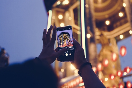 Taking a photo of Chinese lantern festival Stock Photo