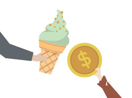 Kid buying an ice cream