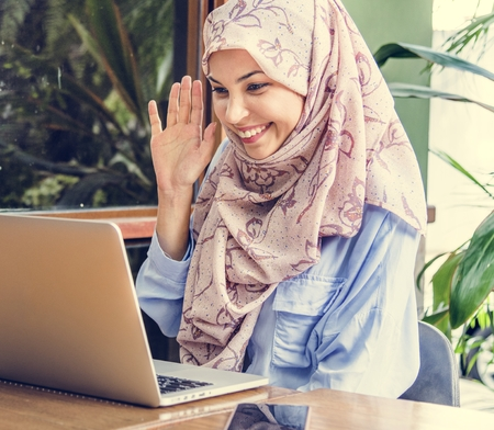 Muslim woman doing a video call