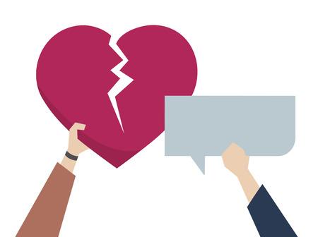 Illustration of a broken heart 스톡 콘텐츠