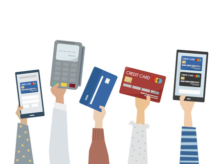 Illustration of online payment with credit cards Archivio Fotografico