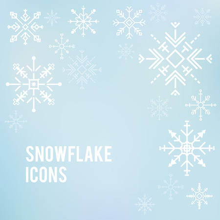 Illustration of cute snowflake icons Фото со стока