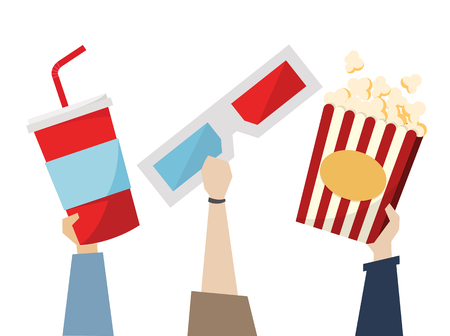 Snacks and 3D glasses for movietime Stock Photo