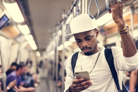 African man on a train Stok Fotoğraf