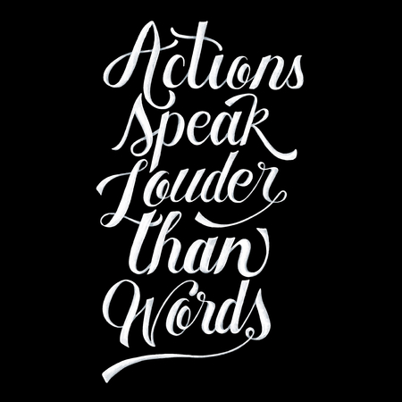 Actions speak louder than words illustration Stok Fotoğraf