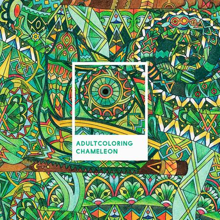 Green chameleon adult coloring illustration