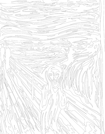 The Scream (1893) by Edvard Munch adult coloring page 写真素材