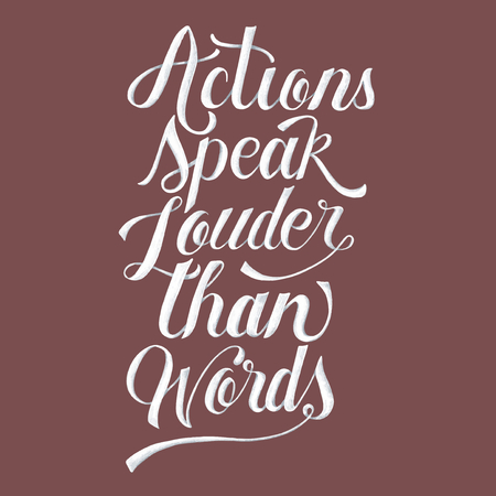 Actions speak louder than words illustration Banco de Imagens