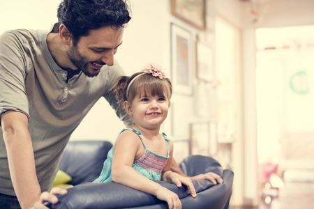 Father and daughter leisure together Stock Photo