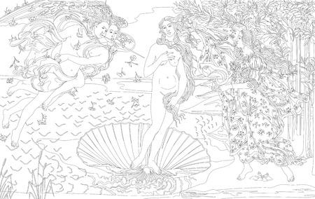 Coloriage - La naissance de Vénus (1483-1485) par Sandro Botticelli pour adulte