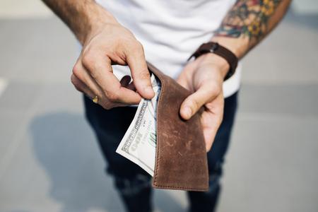 Dollar bill in a wallet Stock Photo