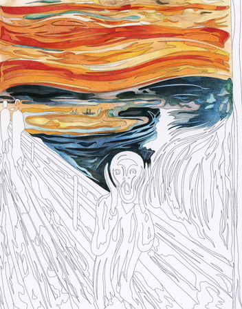 The Scream (1893) by Edvard Munch adult coloring page 스톡 콘텐츠
