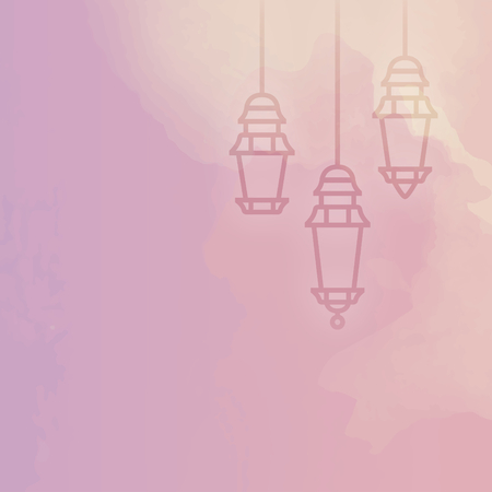 Ramadan decorative lights on colorful background
