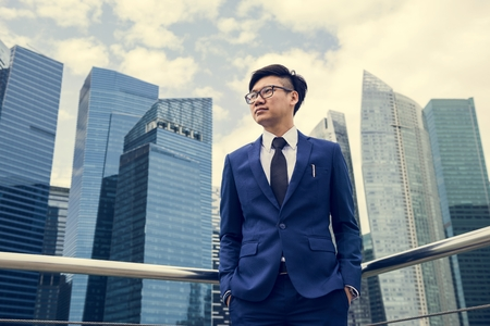 Asian businessman in a city