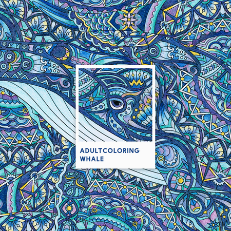 Blue whale adult coloring illustration Stock fotó