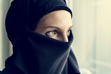 Close up of a covered arabian woman