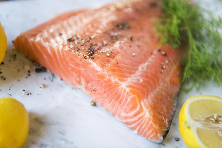 Fresh salmon with dill food photography recipe idea