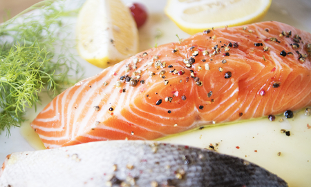 Fresh salmon with dill food photography recipe idea