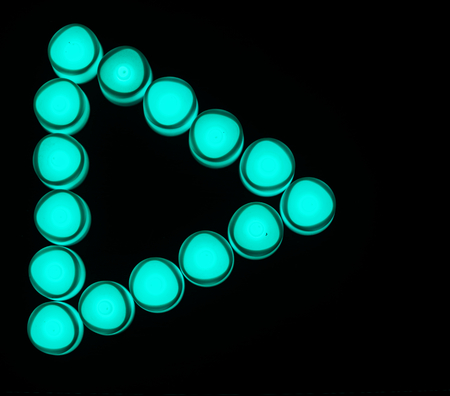 Green lights play button icon Stock Photo