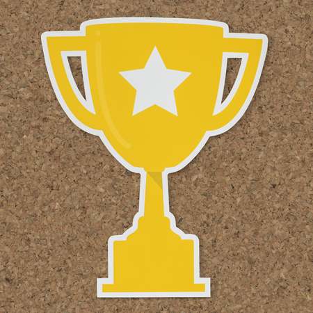 Golden trophy with star icon 스톡 콘텐츠 - 109896621