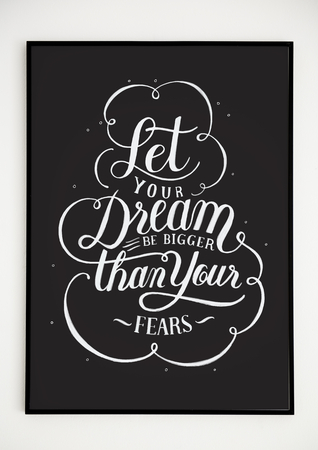 Minimal hand lettering poster with motivation quote