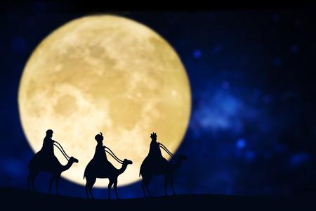 Three wise men silhouette over a full moon Archivio Fotografico
