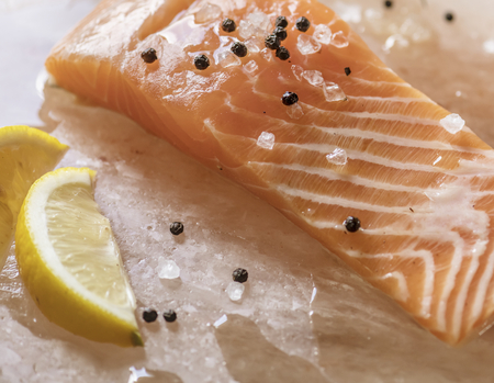 Fresh salmon with thyme food photography recipe idea