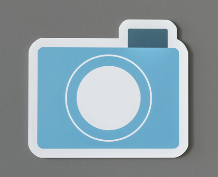 Icon of blue paper camera Stock Photo - 109896712