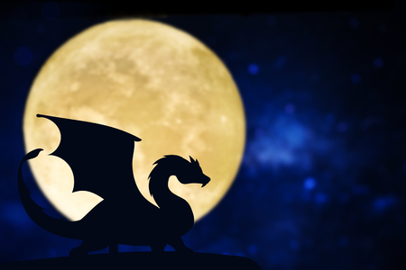 Dragon silhouette over a full moon