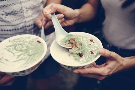 Bowls of fresh cendol dessert Reklamní fotografie